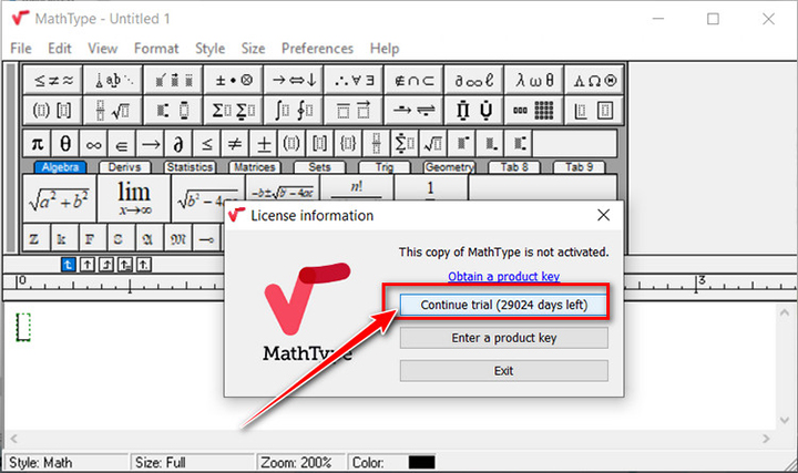 cài đặt thành công phần mềm mathtype