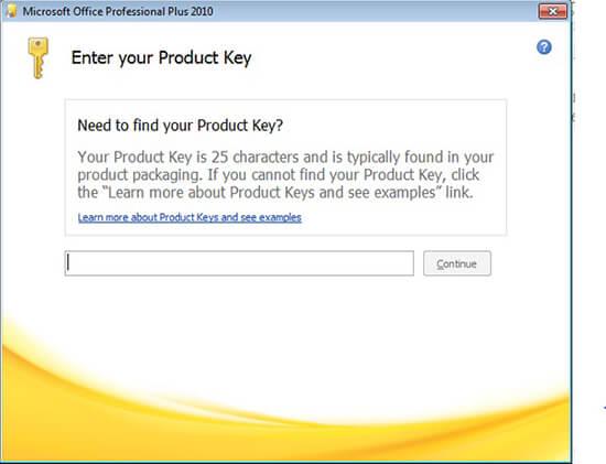 tiến hành nhập key cho office 2010