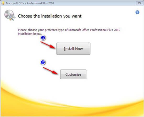 lựa chọn cấu hình cài đặt office 2010
