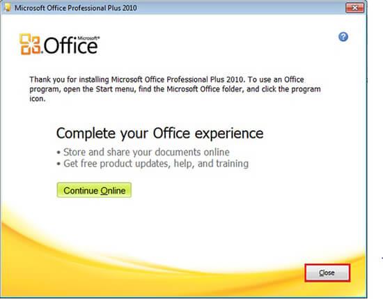 hoàn tất cài đặt office 2010