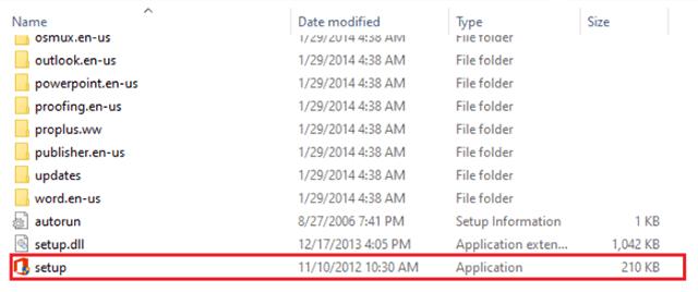 bấm file cài đặt để tiến hành cài đặt office 2013