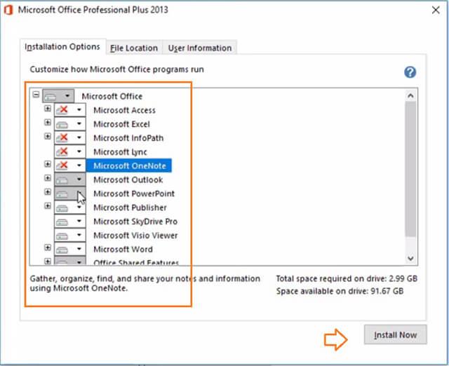 lựa chọn các ứng dụng office 2013