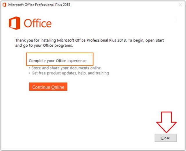 cài đặt xong office 2013