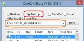 backup bằng onekey ghost