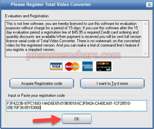 kích hoạt Total Video Converter 3.71
