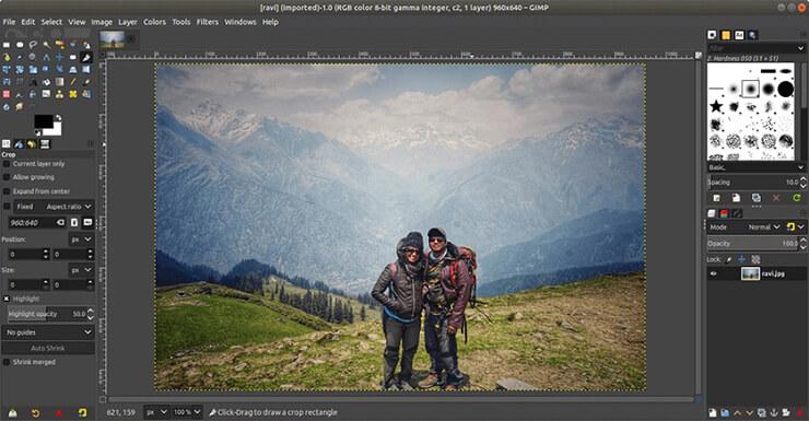giao diện phần mềm GIMP