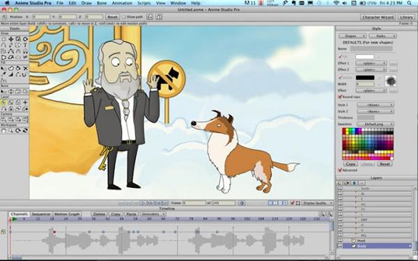 giao diện phần mềm Toon Boom Studio