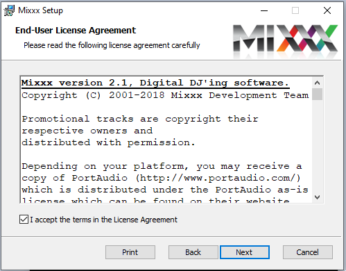 cài đặt phần mềm Mixxx