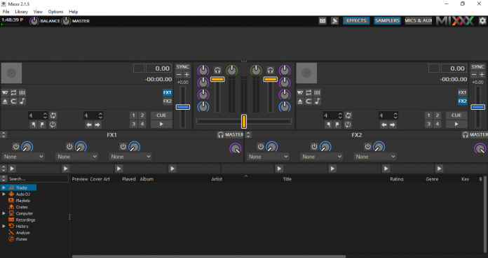 giao diện phần mềm Mixxx